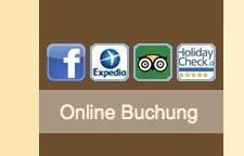 Logos von Bewertungsportalen auf einer Hotel-Webseite
