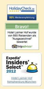 Widgets von Bewertungsportalen auf einer Hotel-Webseite dargestellt