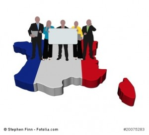 business team with sign on France map flag illustration