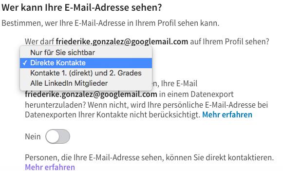 Linkedin Wem Geben Sie Ihre E Mail Adresse Frei Social Media